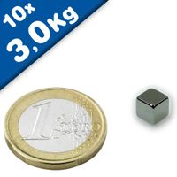 10 x Magnetic Cube  7 x  7 x  7mm Neodymium N42 (Rare Earth) Nickel - pull 3 kg