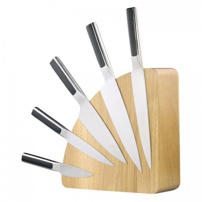 Magnetic knife holder available in wood knife strip or knife block