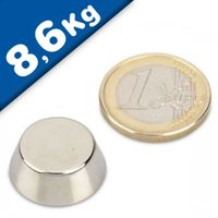 Konusmagnet Ø 25,0/13,0 x 10,0 mm – Neodym N38, Nickel - Haftkraft 8,6 kg