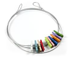 Photo rope with 10 small coloured clips two loops 150 cm long, Clips Ø 2,5 cm