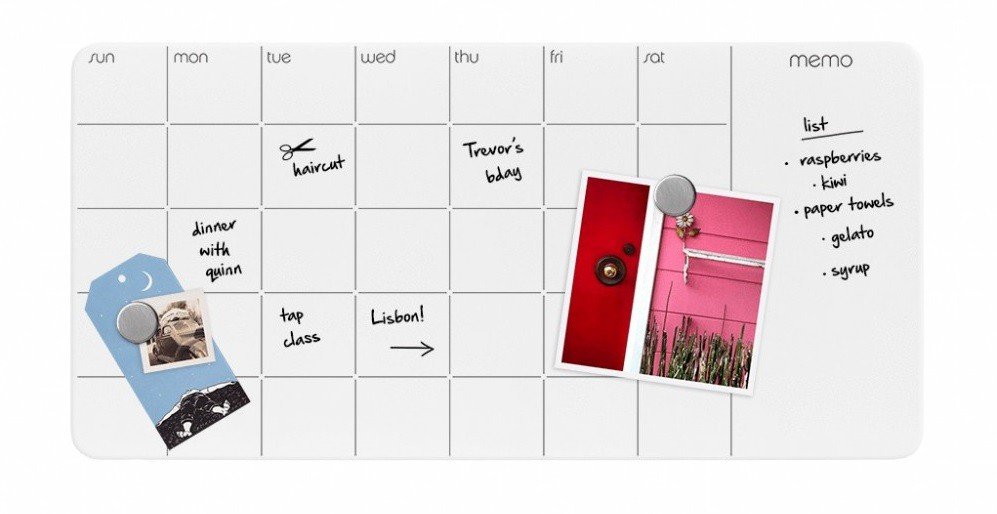 Dry-Erase magnetic glass panel with monthly planner + memo, white 30,5 x 60 cm