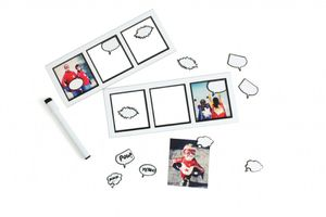 "2 x Magnetic Picture Frames ""My Comic Life"" for 3 Photos w/speech balloons +Pen"