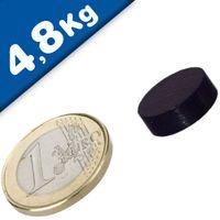 Scheibenmagnet / Rundmagnet Ø 15x 5mm – Neodym N40 (NdFeB) Epoxid - hält 4,8kg