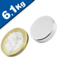 Round Disc Magnet Ø  20 x  5mm Neodymium N42 (Rare Earth), Nickel - pull 6,1 kg