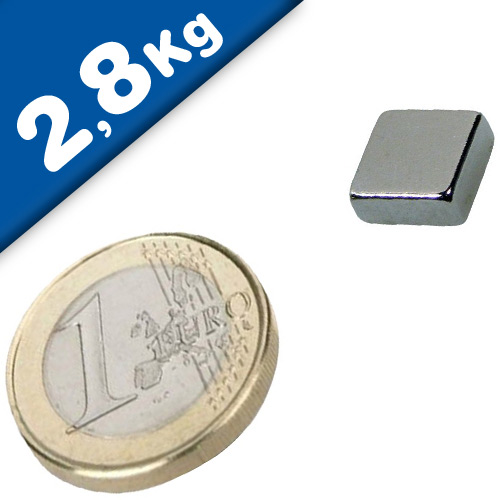 Block Magnet  10 x  10 x  4mm Neodymium N48, Nickel - pull 2,8 kg