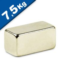 Aimant rectangulaire Bloc 20 x 10 x 10mm Néodyme N42, Nickelé - force 7,5 kg