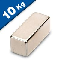 Block Magnet  30 x  10 x 10mm Neodymium N45, Nickel - pull 10 kg