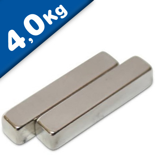 Quadermagnet Magnet-Quader  25 x  5 x  5mm Neodym N42, Nickel - Haftkraft 4,0 kg