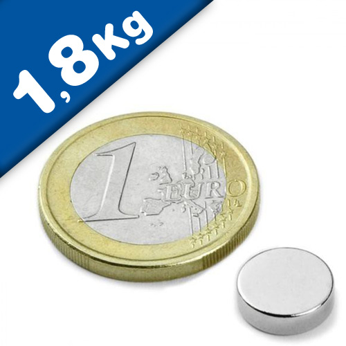 Round Disc Magnet Ø  10 x  3mm Neodymium N35 (Rare Earth), Nickel - pull 1,8 kg