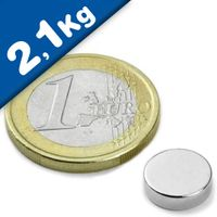 Round Disc Magnet Ø  10 x  3mm Neodymium N45 (Rare Earth), Nickel - pull 2,1 kg