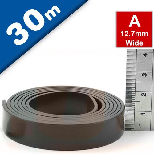 Bande magnétique autocollante type A anisotrope 1,5mm x 12,7mm x 30m - Rouleau