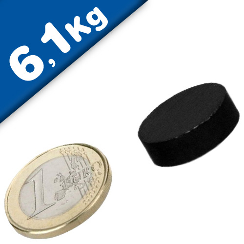 Round Disc Magnet Ø  20 x  5mm Neodymium N42 (Rare Earth), Epoxid - pull 6,1 kg