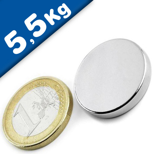 Round Disc Magnet Ø  25 x  3mm Neodymium N45 (Rare Earth) Nickel - pull 5,5 kg