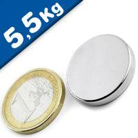 Scheibenmagnet / Rundmagnet Ø 25x 3mm – Neodym N45 (NdFeB) Nickel - hält 5,5 kg