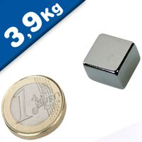 Quadermagnet Magnet-Quader  15 x 15 x  5mm Neodym N45, Nickel - Haftkraft 3,9 kg