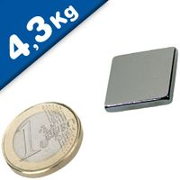 Quadermagnet Magnet-Quader  20 x 20 x  3mm Neodym N45, Nickel - Haftkraft 4,3 kg