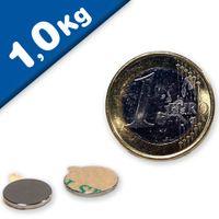 Disc Magnet self-adhesive Ø 10 x  2mm Neodymium N35 - pull 1 kg
