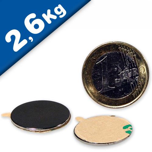 Scheibenmagnet selbstklebend 3M - Ø 22 x 1 mm Neodym N35 (NdFeB) – hält 2,6kg