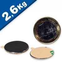 Aimant rond Disque magnétique autocollant Ø 22 x  1mm Néodyme N35 – Force 2,6kg