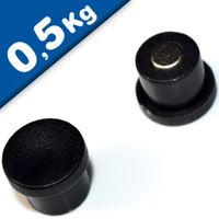 Imán de Oficina Ø 10mm x 8mm Neodimio, negro - fuerza 0,5 kg