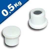 Imán de Oficina Ø 10mm x 8mm Neodimio, blanco - fuerza 0,5 kg