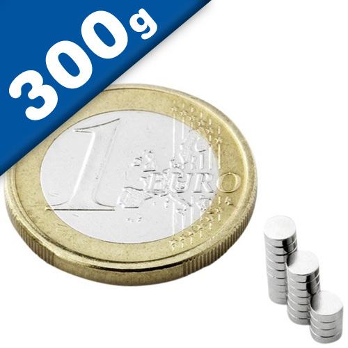 Scheibenmagnet / Rundmagnet Ø  3x 1,5mm – Neodym N50 (NdFeB) Nickel - hält 300g