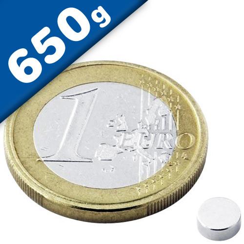 Round Disc Magnet Ø   5 x  2mm Neodymium N40 (Rare Earth), Nickel - pull 650 g