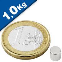 Scheibenmagnet / Rundmagnet Ø  5x 4mm – Neodym N45 (NdFeB) Nickel - hält 1,0kg