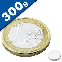Scheibenmagnet / Rundmagnet Ø  6x 1mm – Neodym N45 (NdFeB) Nickel - hält 300g