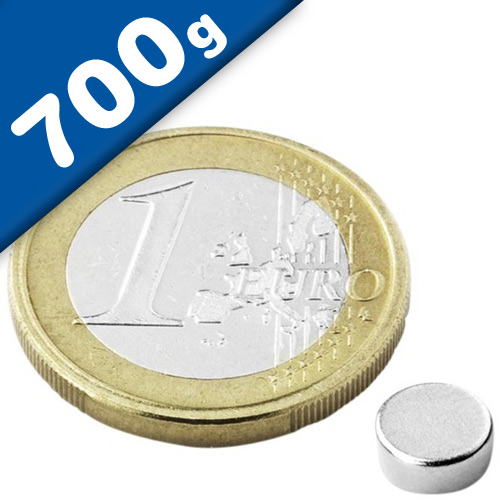 Round Disc Magnet Ø   6 x  2mm Neodymium N45 (Rare Earth), Nickel - pull 700 g