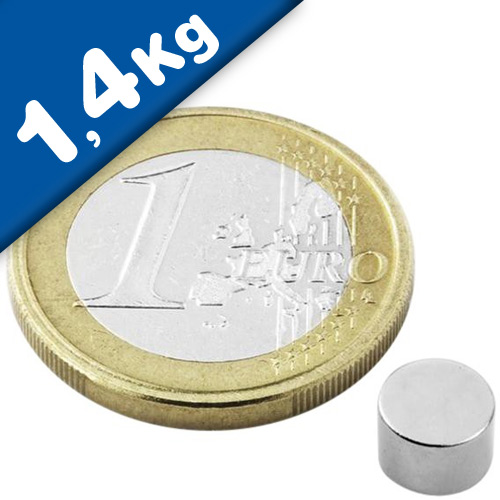 Round Disc Magnet Ø   6 x  5mm Neodymium N45 (Rare Earth), Nickel - pull 1,4 kg