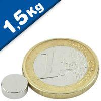 Scheibenmagnet / Rundmagnet Ø  8x 3mm – Neodym N40 (NdFeB) Nickel - hält 1,5 kg