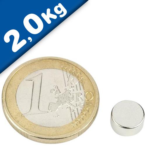 Round Disc Magnet Ø   8 x  4mm Neodymium N45 (Rare Earth) Nickel - pull 2,0 kg