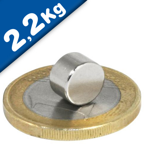 Round Disc Magnet Ø   8 x  6mm Neodymium N35 (Rare Earth) Nickel - pull 2,2 kg