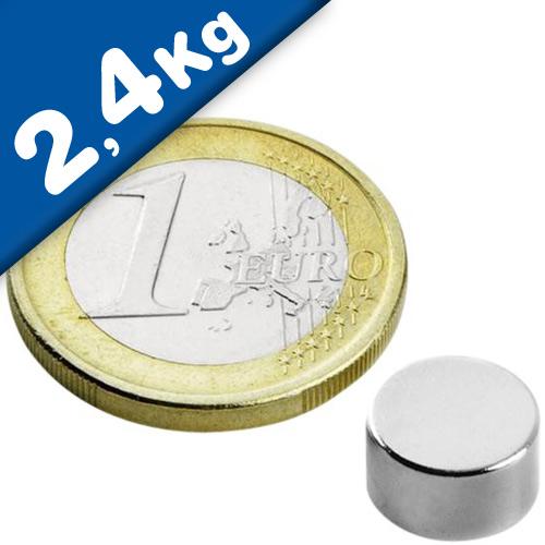 Scheibenmagnet / Rundmagnet Ø  9x 5mm – Neodym N50 (NdFeB) Nickel - hält 2,4 kg