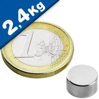 Round Disc Magnet Ø   9 x  5mm Neodymium N50 (Rare Earth) Nickel - pull 2,4 kg