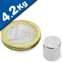 Round Disc Magnet Ø  10 x 10mm Neodymium N48 (Rare Earth), Nickel - pull 4,2 kg
