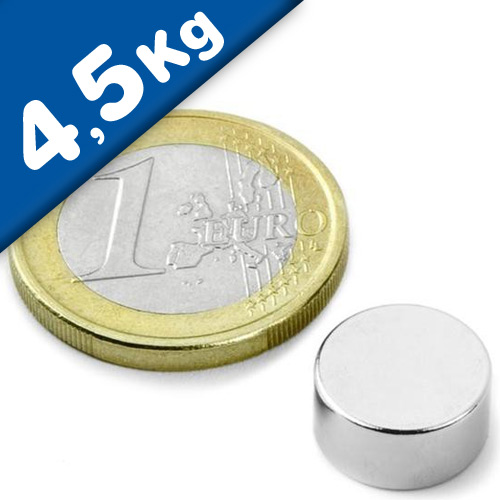 Round Disc Magnet Ø  12 x  6mm Neodymium N45 (Rare Earth), Nickel - pull 4,5kg