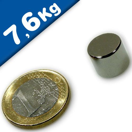 Round Disc Magnet Ø  12 x 10mm Neodymium N45 (Rare Earth), Nickel - pull 7,6kg