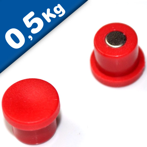 Marker/Notice Board Magnet Ø 10 x 8mm Neodymium, red - pull 0,5 kg