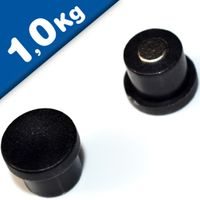 Imán de Oficina Ø 18mm x 8mm Neodimio, negro - fuerza 1 kg