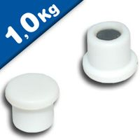 Imán de Oficina Ø 18mm x 8mm Neodimio, blanco - fuerza 1 kg