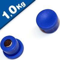 Magnete ufficio Ø 18mm x 8mm Neodimio, blu - forza 1 kg