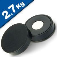 Magnete ufficio Ø 30mm x 8mm Neodimio, nero - forza 2,7 kg