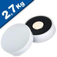 Imán de Oficina Ø 30mm x 8mm Neodimio, blanco - fuerza 2,7 kg