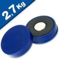 Imán de Oficina Ø 30mm x 8mm Neodimio, azul - fuerza 2,7 kg