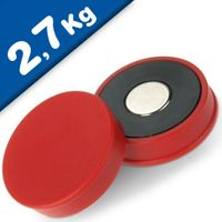 Marker/Notice Board Magnet Ø 30 x 8mm Neodymium, red - pull 2,7 kg