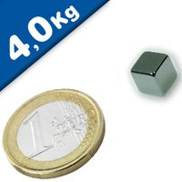 Cube Magnet   8 x  8 x  8mm Neodymium N40 (Rare Earth) Nickel - pull 4 kg