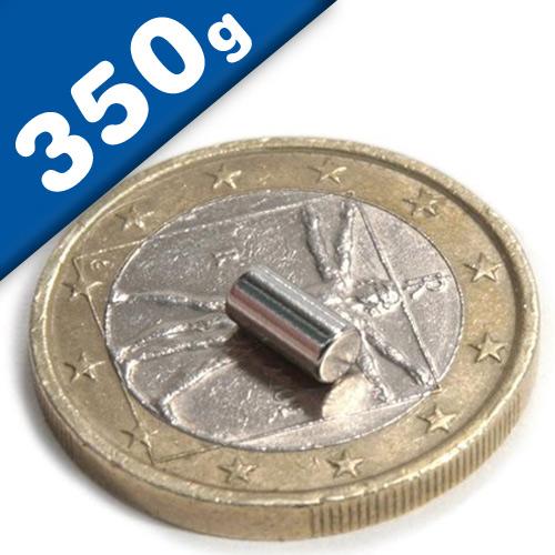 Rod Magnet Ø  3 x   5 mm Neodymium N42, Nickel - pull 350 g