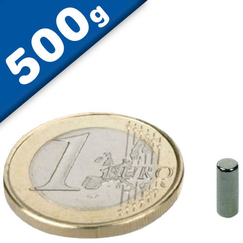 Rod Magnet Ø  3 x  10 mm Neodymium N45, Nickel - pull 500 g